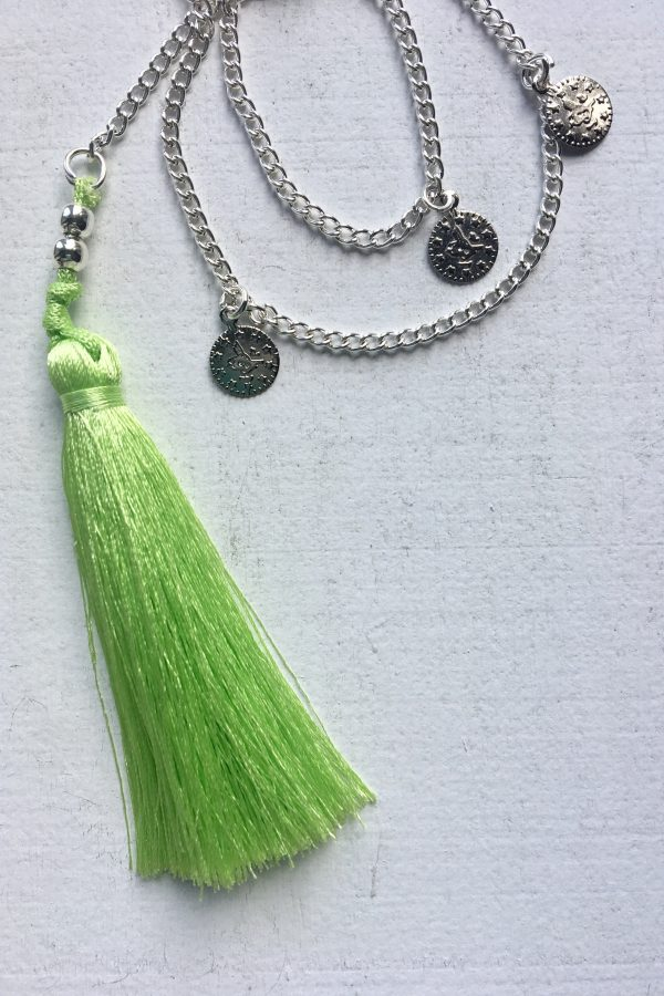 Silk Tassel Necklace Green