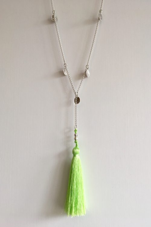 Green Tassel Silver Necklace