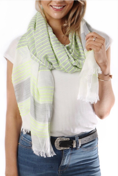 Millie Grey Stripe Scarf