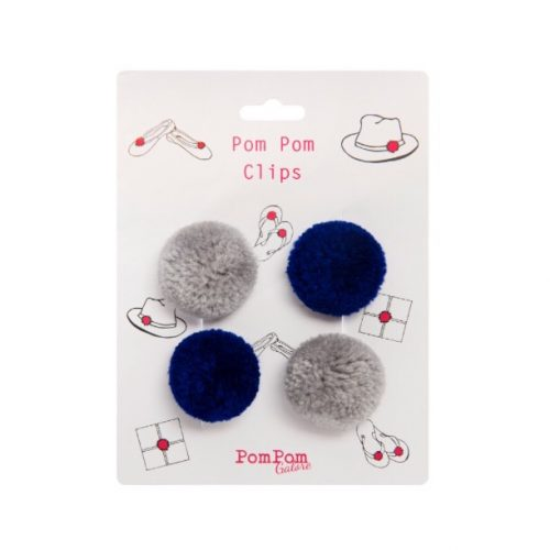 Pom Pom Clips Navy & Grey