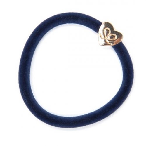 Navy Velvet Gold Heart Bangle Band
