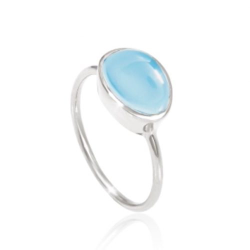 Silver Celestial Chalcedony Ring