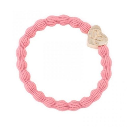 Coral Pink Gold Heart Bangle Band