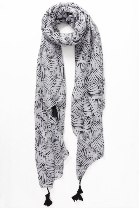 Flora Palm Scarf Black2