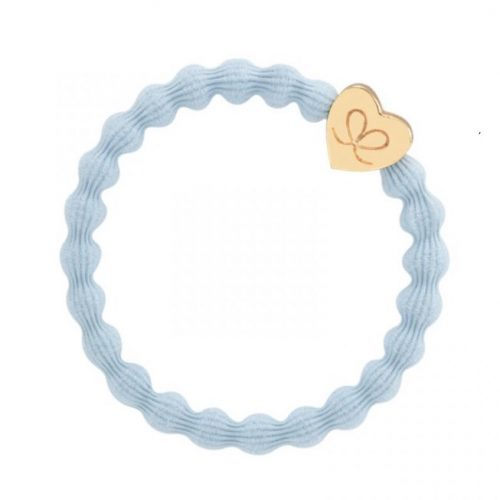 Pale Blue Gold Heart Bangle Band