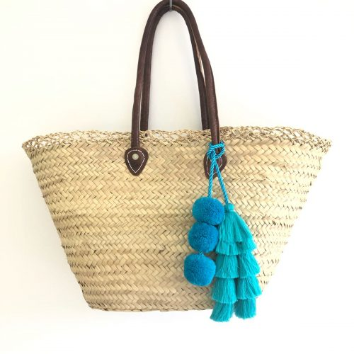 Blue Tassel Beach Basket