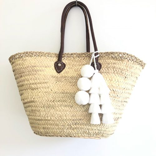 White Tassel Beach Basket