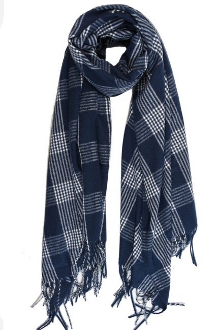 Bramble Check Scarf Blue White