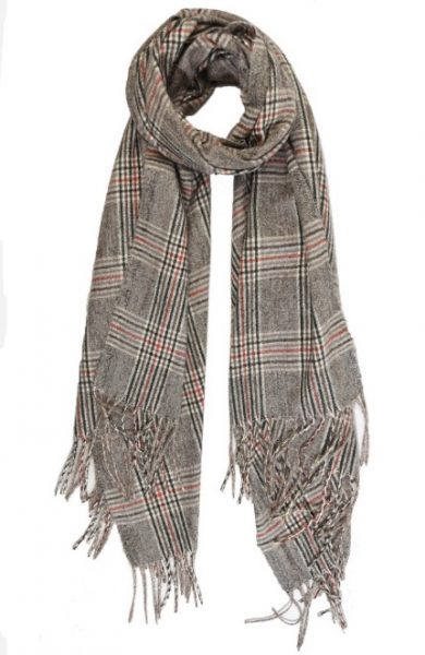 Bramble Check Scarf Brown Red