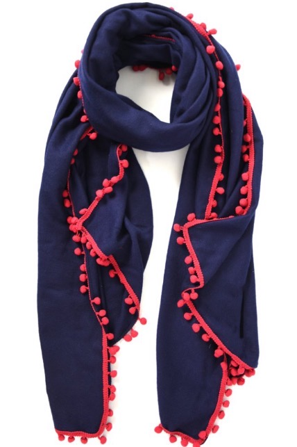 Winter Pom Pom Scarf Navy Burgundy