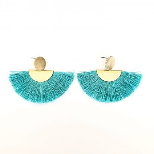 Margot Tassel Earrings Aqua