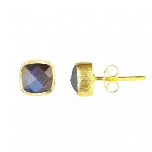 Gold Labradorite Square Stud Earrings