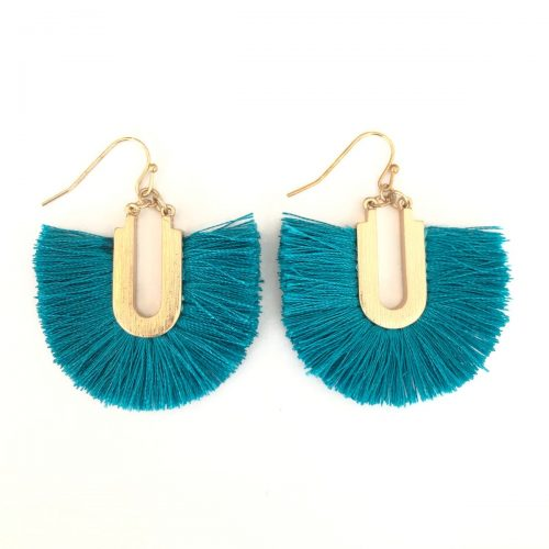 Florence Tassel Earrings Teal