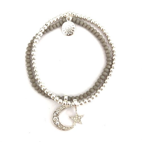 Crystal Moon and Star Bracelet