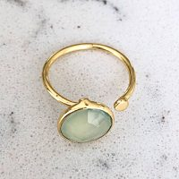 Boho Ring Gold Prehnite