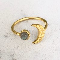 Moon Ring Gold Labradorite