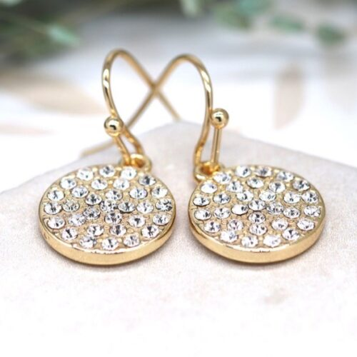 Katie Sparkle Gold Disc Earrings